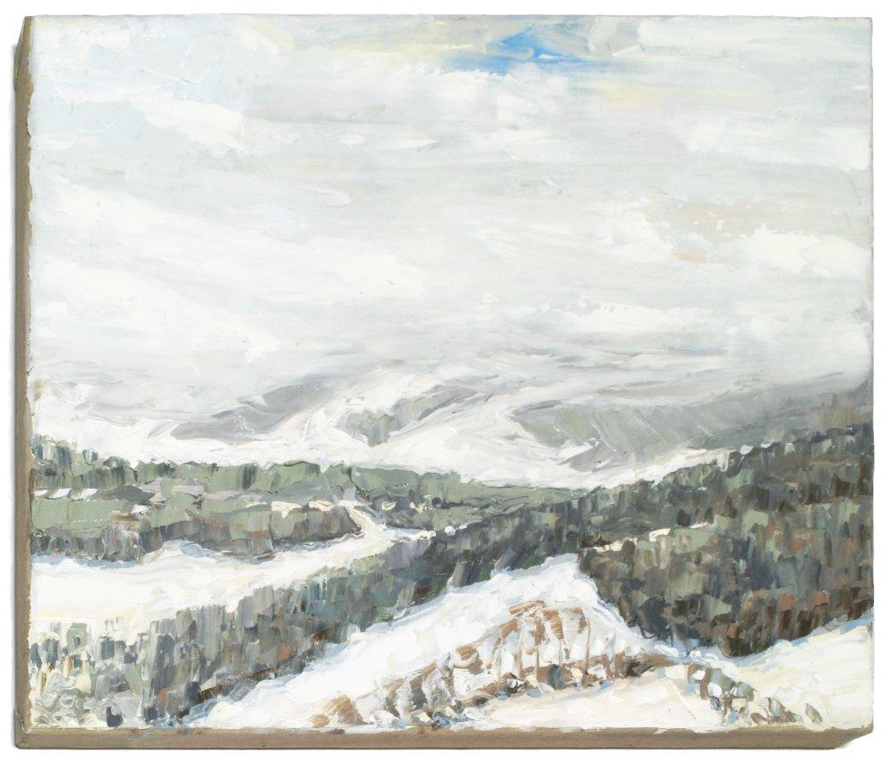 Stephan Ois - Schneelandschaft gemalt, Öl auf Leinwand, zeitgenössische Malerei Östereich